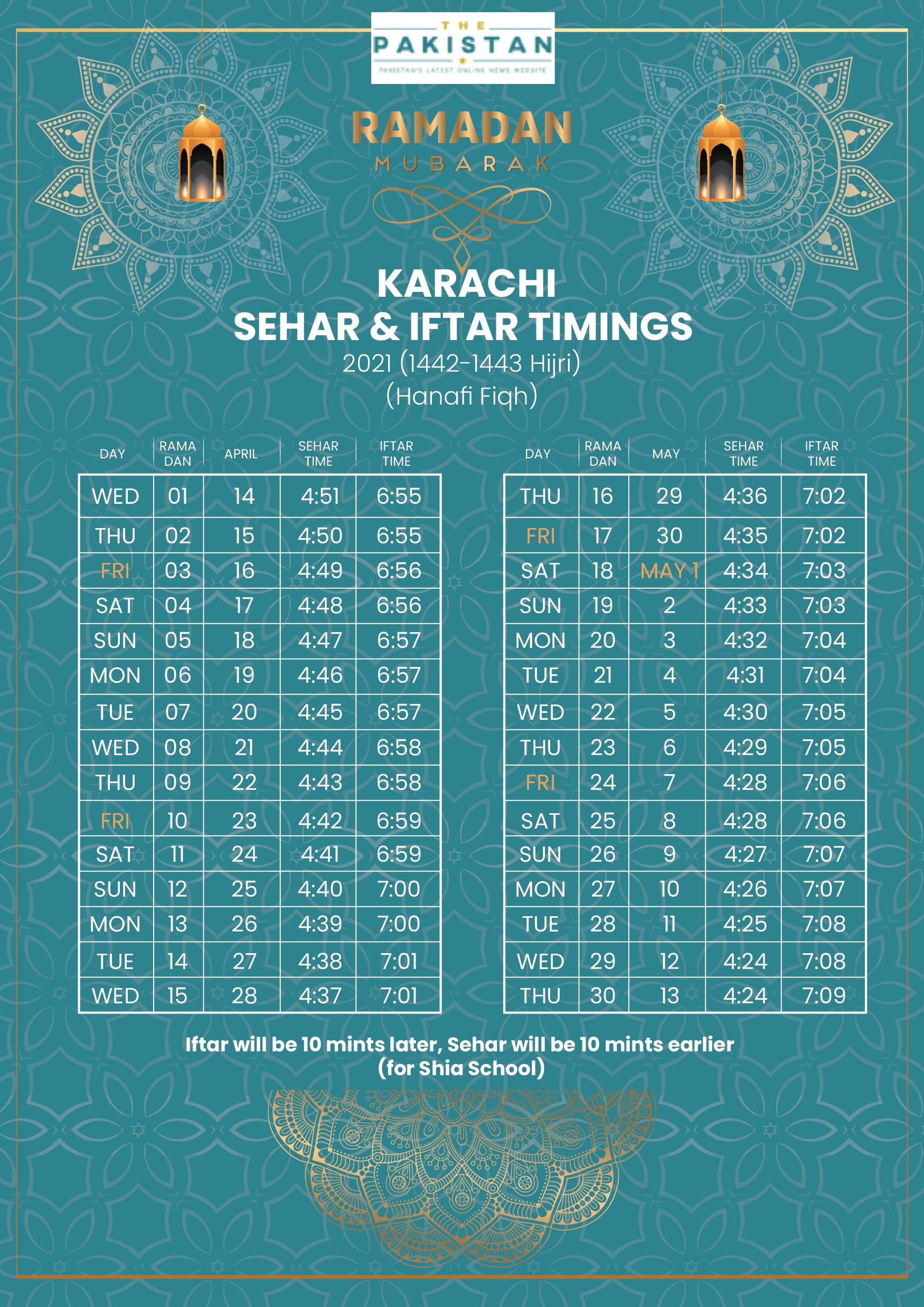 SEHRI & IFTAR TIME - KARACHI