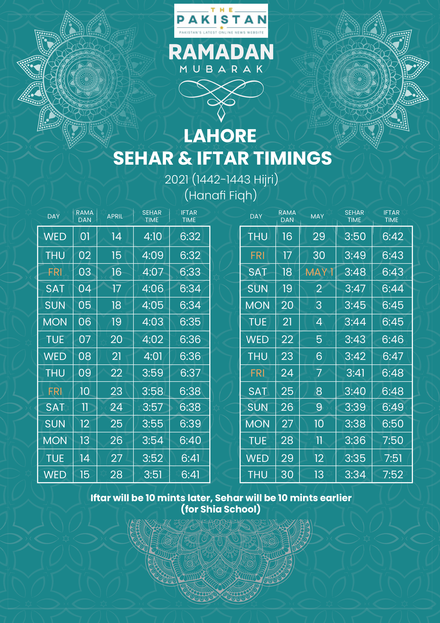 SEHRI & IFTAR TIME - LAHORE