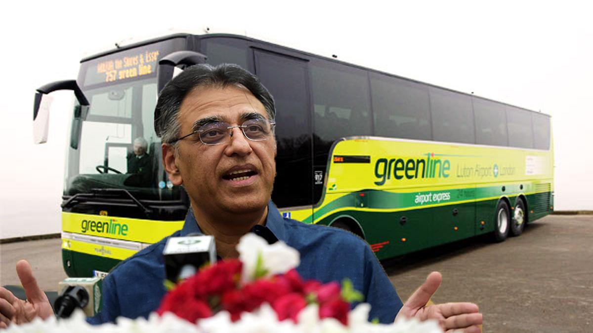 Headline Green Line BRT set to start in Karachi from October: Asad Umar