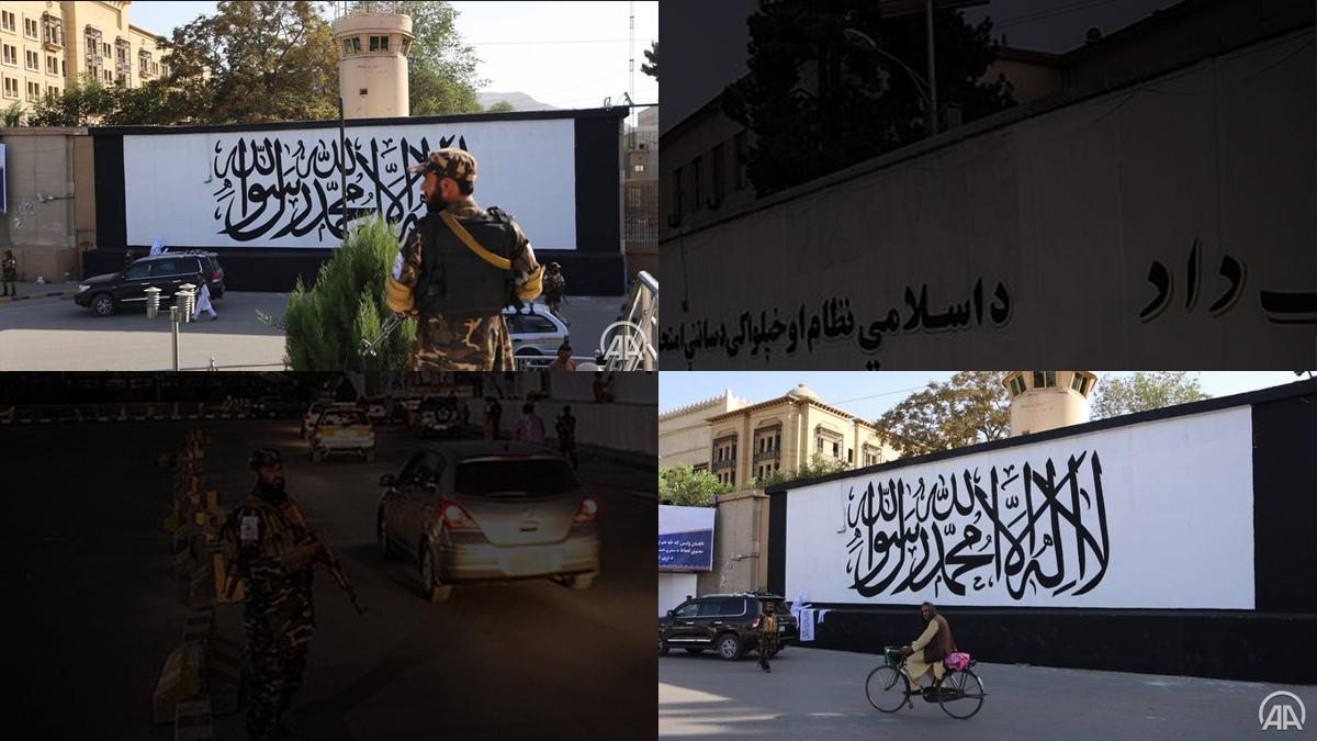 Kabul: Taliban flag painted outside former US embassy